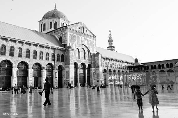 Personnes à l'intérieur de la mosquée Ummayad à Damascus, Syrie