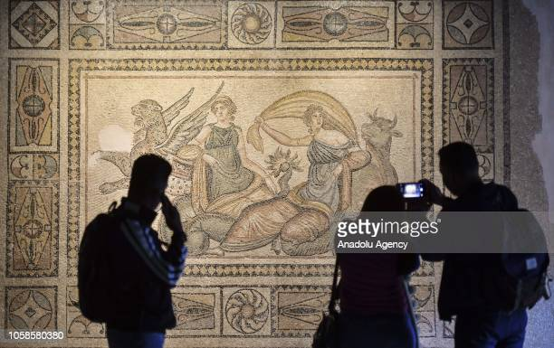 People inspect the mosaic artwork at the Zeugma Mosaic Museum in Gaziantep Turkey on November 07 2018 Many years ago the missing pieces of the Gypsy...
