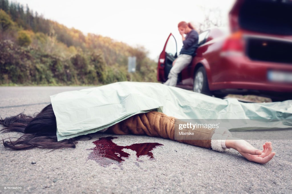 People involved in car accident : Stock Photo