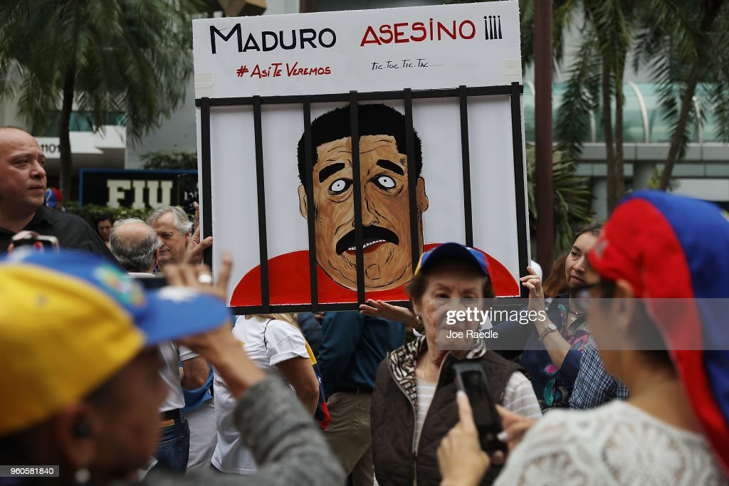 Venezuelans In Miami Protest The Country's Elections Taking Place Today