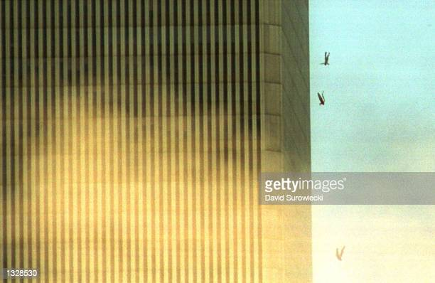 People jump to their deaths from the World Trade Center after it was hit by two planes and engulfed in smoke and flames during a suspected terrorist...