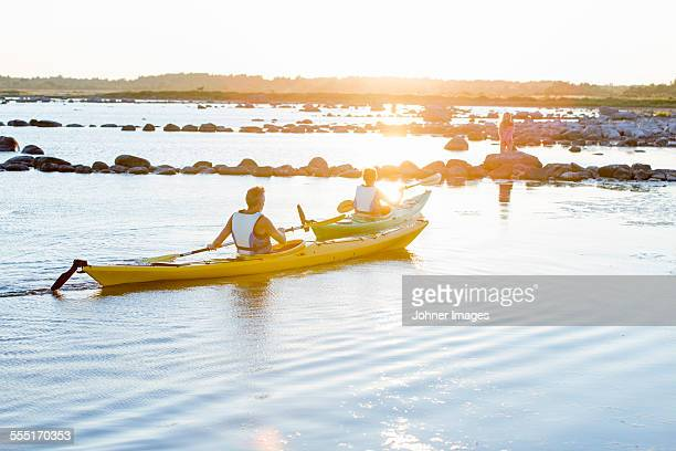 people kayaking at evening - エーランド ストックフォトと画像