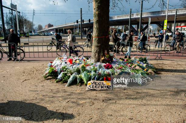 People keep stopping at the place where the attack took place yesterday in Utrecht, Netherlands, on 19 March 2019. The day after three people were...