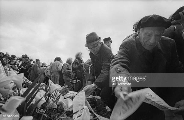 People laying wreaths to commemorate the 50th anniversary of the destruction of the Warsaw Ghetto in Poland 1993