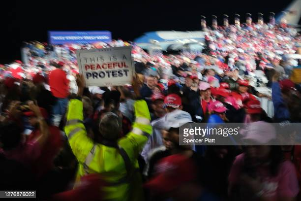People leave after President Donald Trump spoke at a rally at Harrisburg International Airport on September 26 2020 in Middletown Pennsylvania Trump...