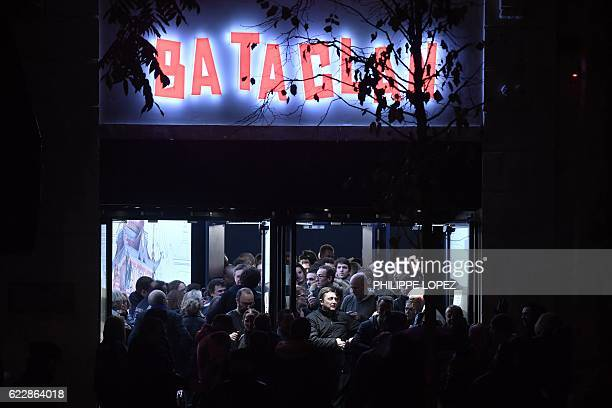 TOPSHOT People leave the Bataclan concert hall in Paris on November 12 after the reopening concert by British musician Sting to mark the first...