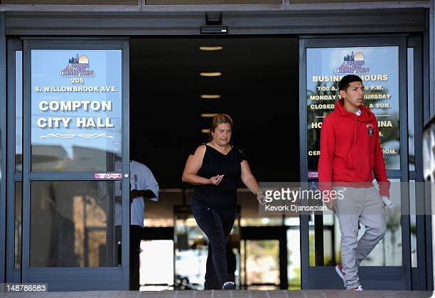 People leave The City of Compton city hall on July 19 2012 in Compton California The City of Compton located south of Los Angeles with a population...
