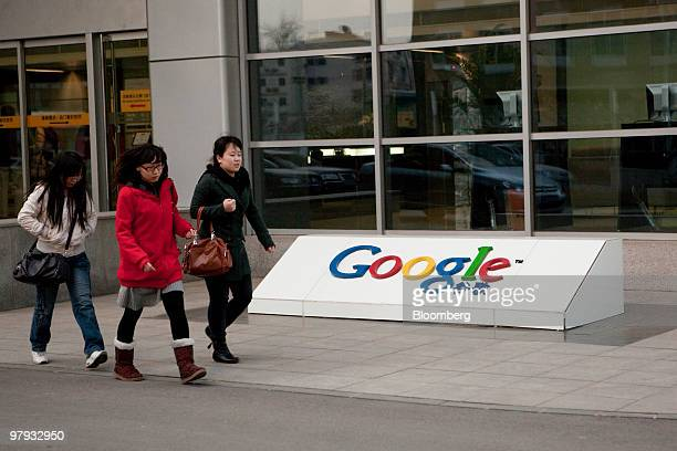 People leave the Google Inc office in Beijing China on Monday March 22 2010 Google Inc's looming withdrawal from China adds to pressure to expand in...