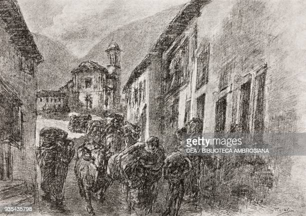 People leaving the town with a few of their possessions, illustration by Gaetano Previati , from The Betrothed, A Milanese story of the 17th century,...