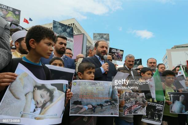 People led by Confederation of Public Servants Trade Unions and Humanitarian Relief Foundation gather at Konak Square in Izmir Turkey on April 7 2017...