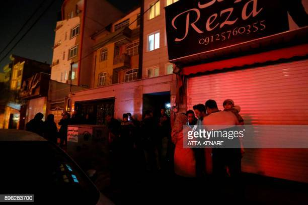 People left their house and wait in the streets in Tehran overnight on December 21 after an earthquake was felt in the Iranian capital The quake...