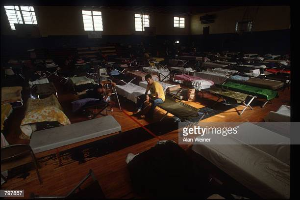 People lie on cots in a shelter September 27 1989 in South Carolina Hugo is ranked as the eleventh most intense hurricane to strike the US this...