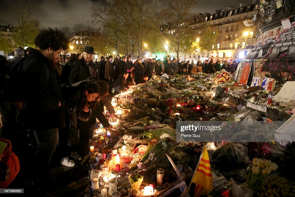 Tributes To Victims Left At Attack Sites In Paris : News Photo