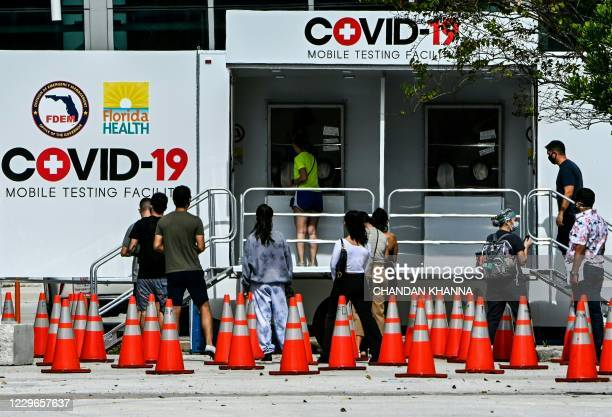 People line up at a walk-up COVID-19 testing site in Miami Beach, Florida on November 17, 2020. - US biotech firm Moderna on November 16, 2020...