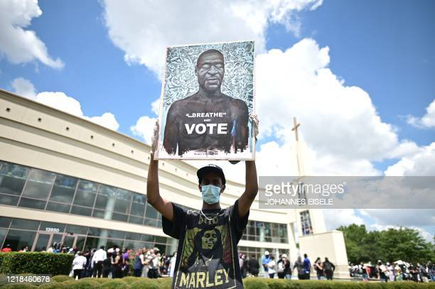 People line up at the Fountain of Praise church where services will be held for George Floyd on June 8, 2020 in Houston Texas. - Democrats vowed June...