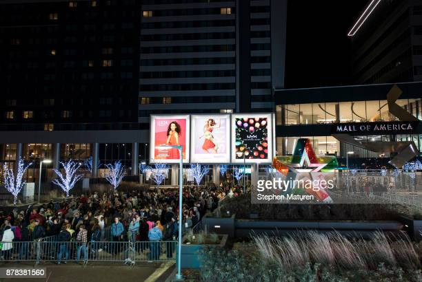 People line up for a Black Friday giveaway outside the Mall of America on November 24 2017 in Bloomington United States