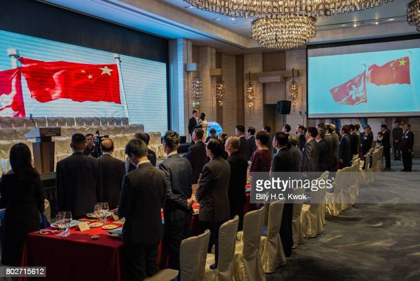 People line up for the national anthem during the handover celebration on June 5 2017 in Hong Kong Hong Kong Hong Kong is marking 20 years since the...