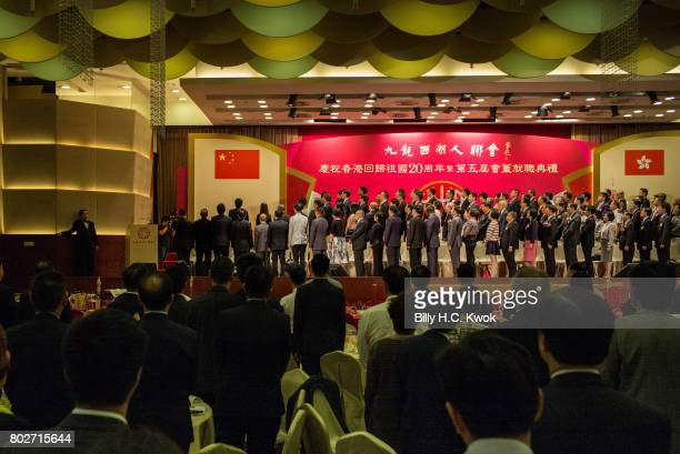 People line up for the national anthem during the handover celebration on June 8 2017 in Hong Kong Hong Kong Hong Kong is marking 20 years since the...