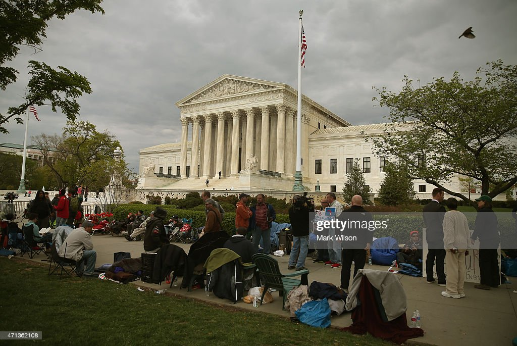 People line up for tomorrow's hearing on gay marriage at the U.S. Supreme Court April 27, 2015 in Washington, DC. The high court is scheduled to hear arguments April 28, in the case of Obergefell v. Hodges, that will ultimately decide whether states will still be allowed to ban same sex marriage and refuse to recognize the rights of couples married in other states.