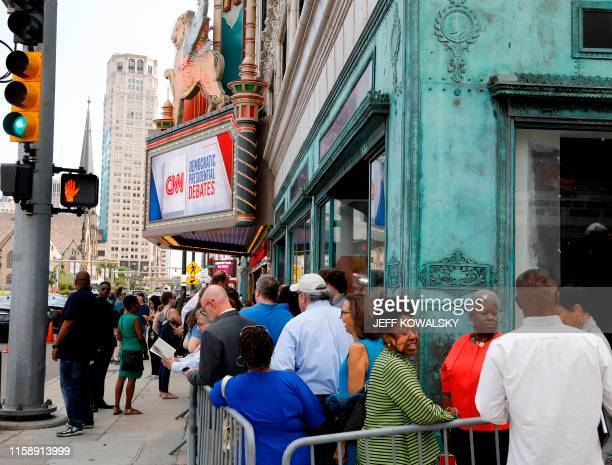 People line up outside the Fox Theater in Detroit Michigan on July 31 ahead of the second Democratic Presidential Debate