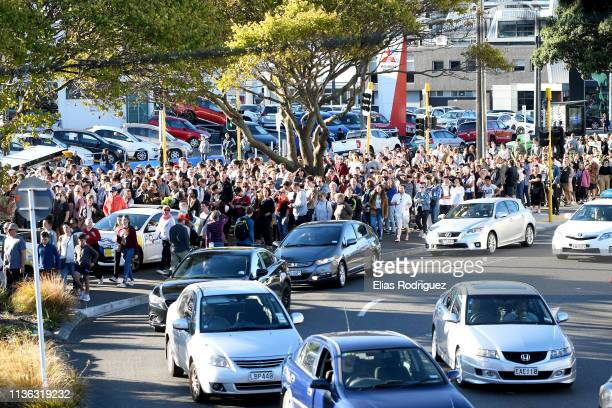 People line up to enter the Wellington Vigil held at the Basin Reserve on March 17 Wellington, New Zealand. 50 people are confirmed dead, with 36...