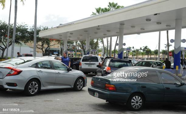 People line up to get gas during preparations for hurricane Irma in Miami Florida on September 8 2017 Florida Governor Rick Scott warned that all of...