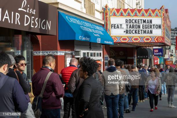 People line up to see Rocketman Post Screening Conversation with Taron Egerton hosted by Liam Mayclem at the Historic Castro Theatre on May 30 2019...