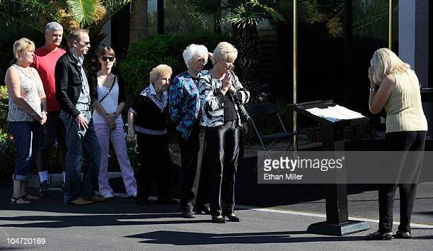 People line up to sign a guest book as they arrive at the funeral for actor Tony Curtis at Palm Mortuary Cemetary October 4 2010 in Henderson Nevada...