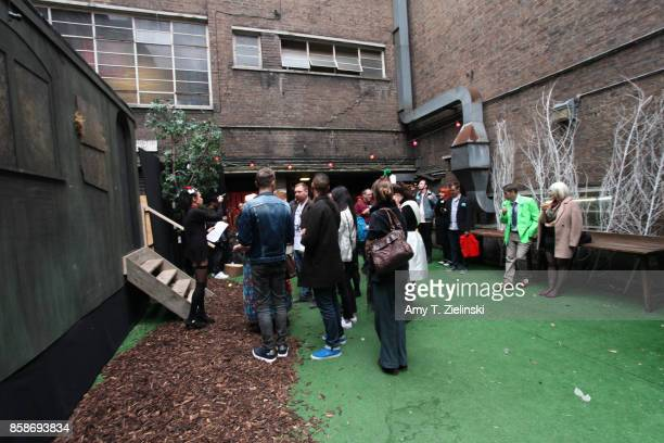 People line up to visit the train car for a reenactment of Laura Palmer's murder the day before the Twin Peaks UK Festival 2017 at Hornsey Town Hall...