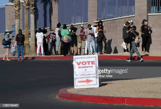 People line up to vote at Desert Breeze Community Center on November 3, 2020 in Las Vegas, Nevada. After a record-breaking early voting turnout,...