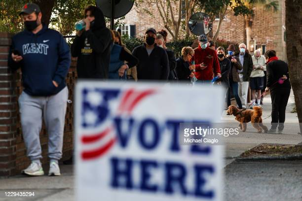 People line up to vote at the Hazel Parker Playground on Election Day on November 3, 2020 in Charleston, United States. After a record-breaking early...