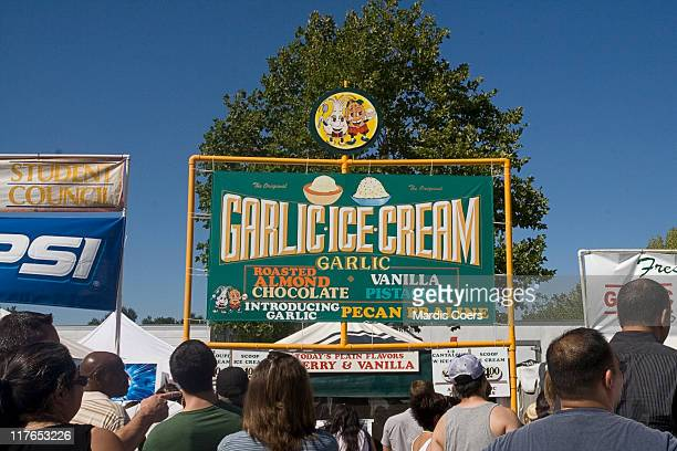 People lined up to buy garlic ice cream at the 2007 Garlic Festival Gilroy California