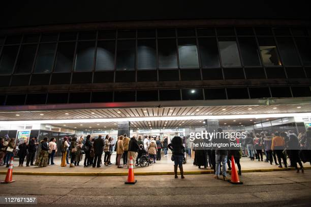 People lined up to hear Angela Davis speak at the Birmingham Committee for Truth and Reconciliation event at the Boutwell Auditorium on February 16...