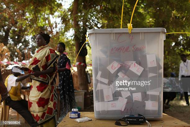 People lineup to vote at a polling station during the second day of voting for the independence referendum January 10 2011 in Juba Sudan Southern...