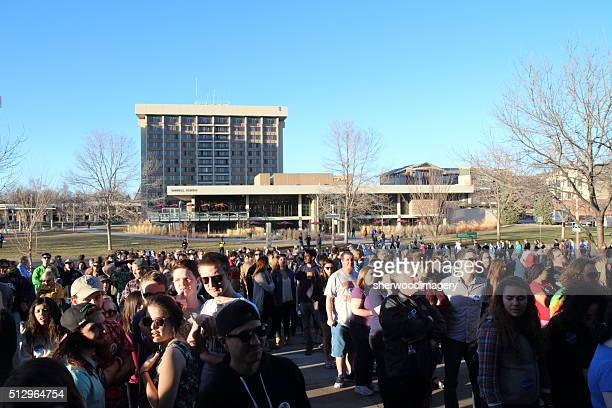 People Lining up for Bernie Sanders Campaign Rally
