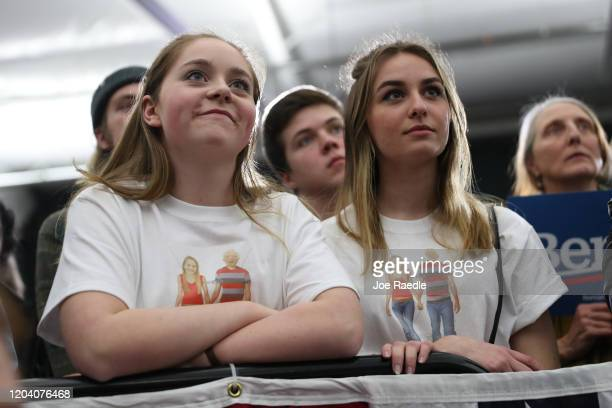 People listen as Democratic presidential candidate Sen Bernie Sanders speaks at a campaign rally on February 04 2020 in Milford New Hampshire The New...