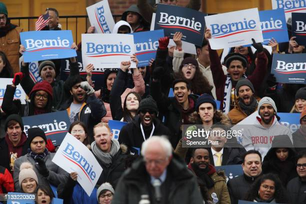 People listen to Democratic Presidential candidate US Sen Bernie Sanders speaks to supporters at Brooklyn College on March 02 2019 in the Brooklyn...