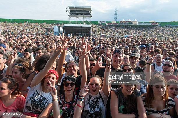 People listen to Manic Street Preachers concert during Rock In Idro Day 4 at Arena Joe Strummer on June 2 2014 in Bologna Italy