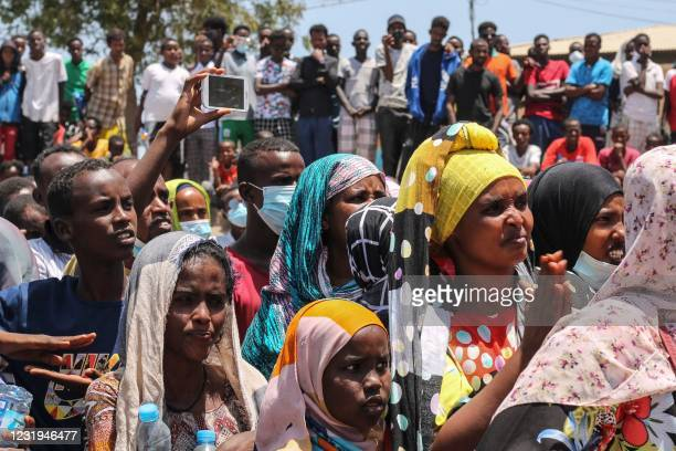 People listen to the speach of a candidate during the opening of the campaign for the presidential election which will be scheduled on April 9 in...