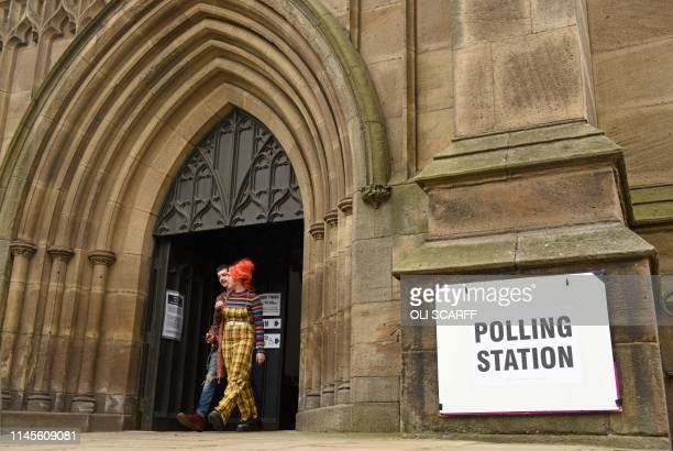 People live from Leeds Minster converted into a polling station for the day as voters cast their votes in the European Parliament elections in Leeds...