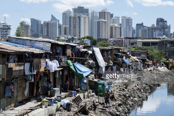 TOPSHOT People living in a settlement walk about as the skyline of Manila's financial district is seen in the background on August 17 2017 The...