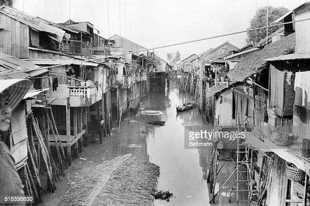 People living in these stilted homes on Chau Doc's central drainage canal just dump their garbage into the water But this city a province capital...