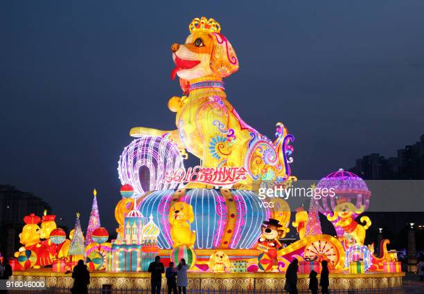 People look at a dog lantern at a lantern show on February 8 2018 in Changzhou China Chinese People are preparing for the upcoming Chinese Lunar New...