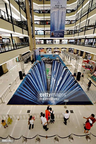People look at a huge threedimensional painting made on the floor of a shopping mall by German artist Edgar Muller in Shanghai on August 6 2009 The...