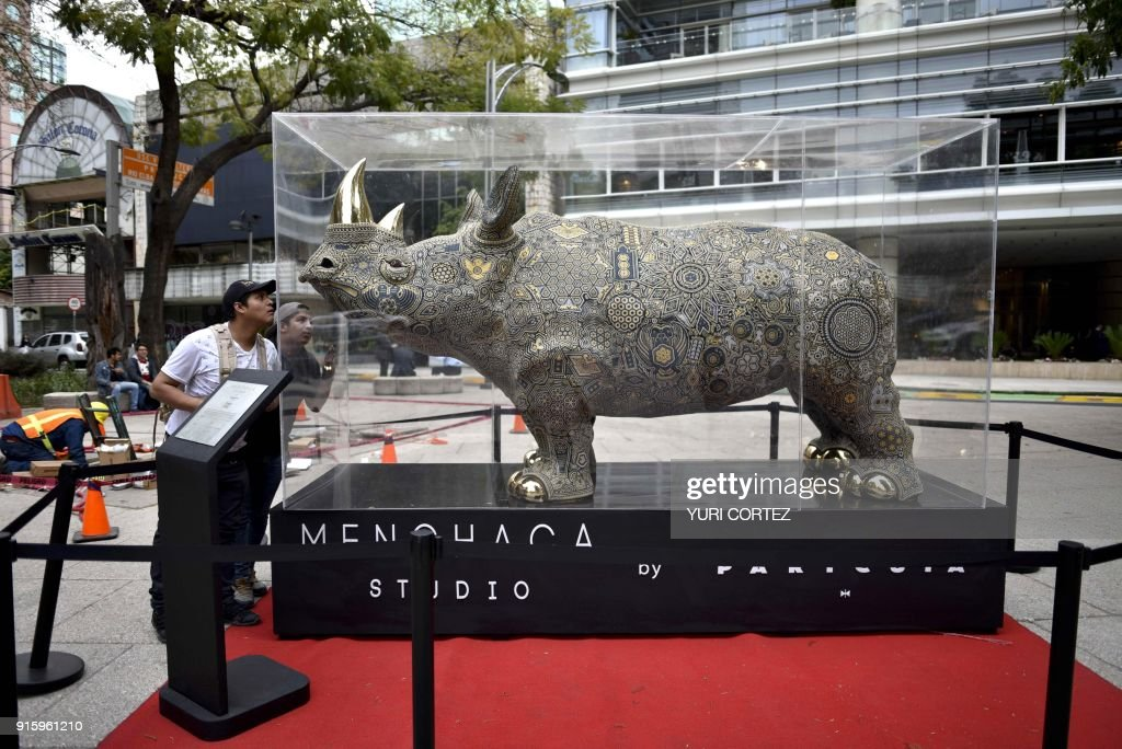 People look at a monumental sculpture of a Rhino called 'Tukari' ('Life') made of fiberglass, with horns and hooves bathed in gold, worked in Huichol art and placed along Reforma avenue as part of an exposition called 'the world's biggest Huichol exhibit', in Mexico City, on February 8, 2018. One hundred Wixarikas indigenous artists from the social and cultural company Paricuta made 10 monumental works of art inspired by sports and nature, which were put on public display on the street. /