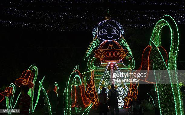 People look at Christmas lights on December 16 2016 in Medellin Antioquia department Colombia / AFP / RAUL ARBOLEDA