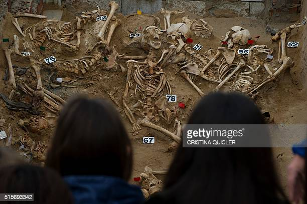 People look at human remains in the bottom of a mass grave at the San Roque cemetery in Puerto Real near Cadiz on March 15 2016 following a...