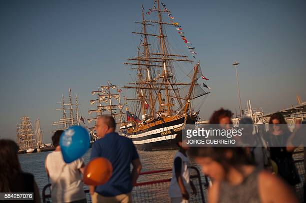 People look at Italian sailing ship Amerigo Vespucci at Cadiz port on July 28 2016 during the Tall Ships race 2016 an international event which...