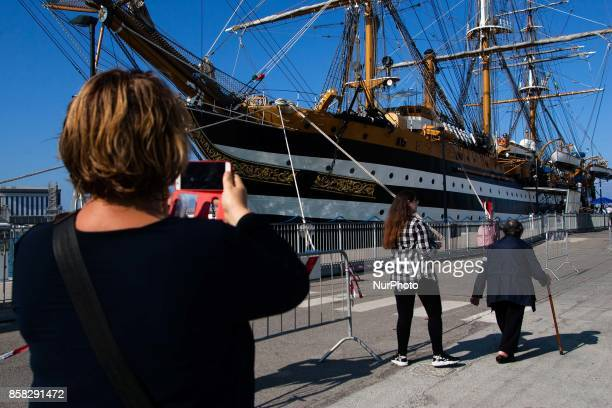 People look at Italian sailing ship quotAmerigo Vespucciquot in Naples Italy October on 062017