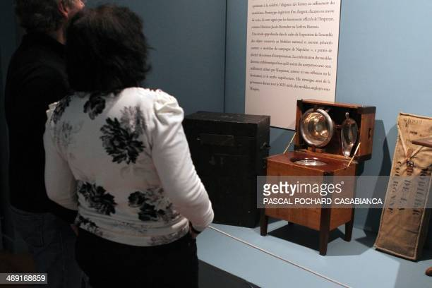 People look at late French Emperor Napoleon's personnal bidet on February 13, 2014 during an exhibition at the Fesch Museum of Beaux-Arts in Ajaccio,...